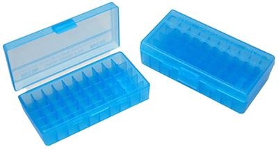 9MM/380ACP P-50 BLUE FLIP TOP AMMO BOX
