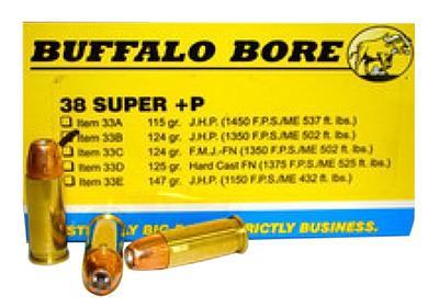 38 SUPER +P 124GR JHP