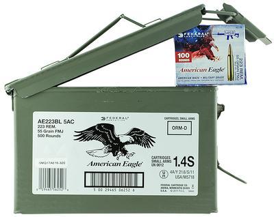 223REM AMERICAN-EAGLE 55GR FMJ 500RNDS