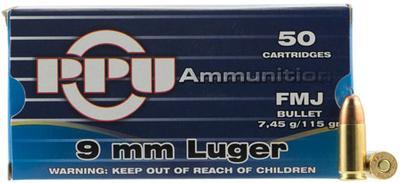 9MM RANGE/TARGET 115GR FMJ BRASS CASE